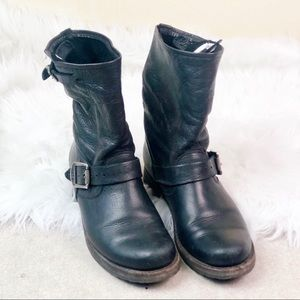 FRYE Black Leather Veronica Mid Calf Boots